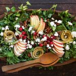 fall salad in wooden bowl