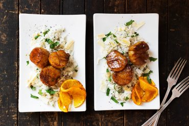 Orange Soy Scallops with Coconut Rice
