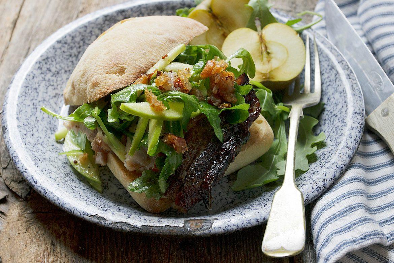 Apple Cider Roasted Pork Belly Sandwich with Fresh Apple and Arugula