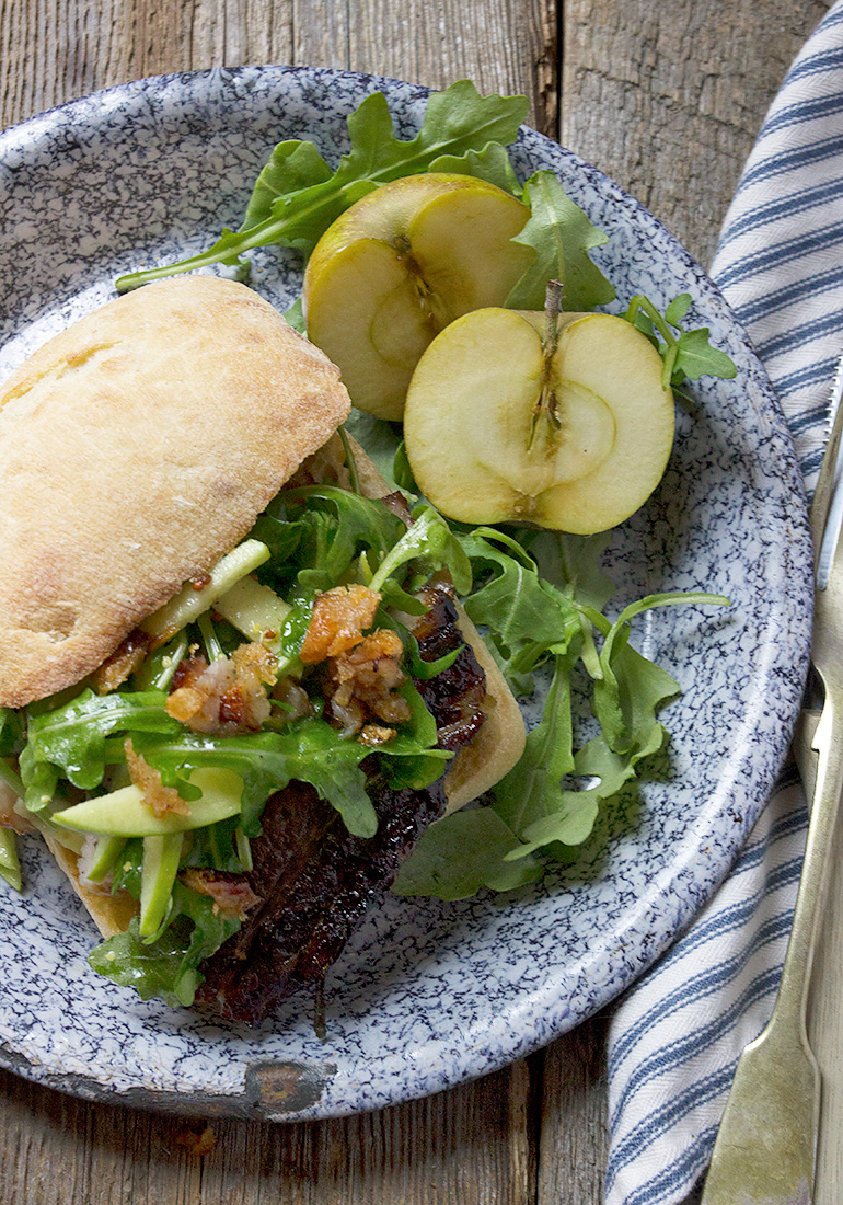 Apple Cider Roasted Pork Belly Sandwich with Fresh Apple and Arugula