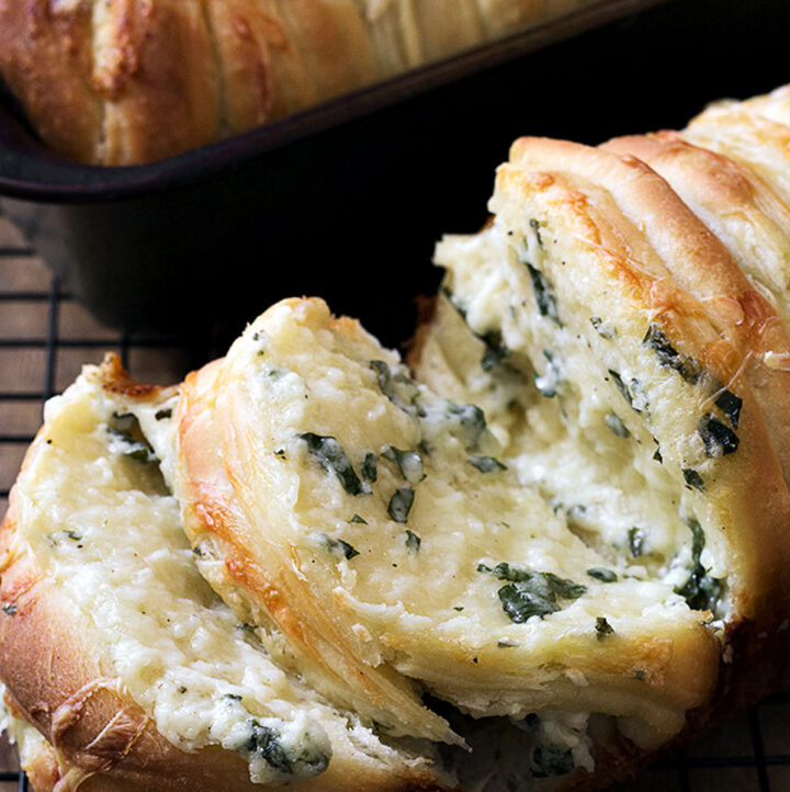 pull apart garlic cheese bread on cooling rack