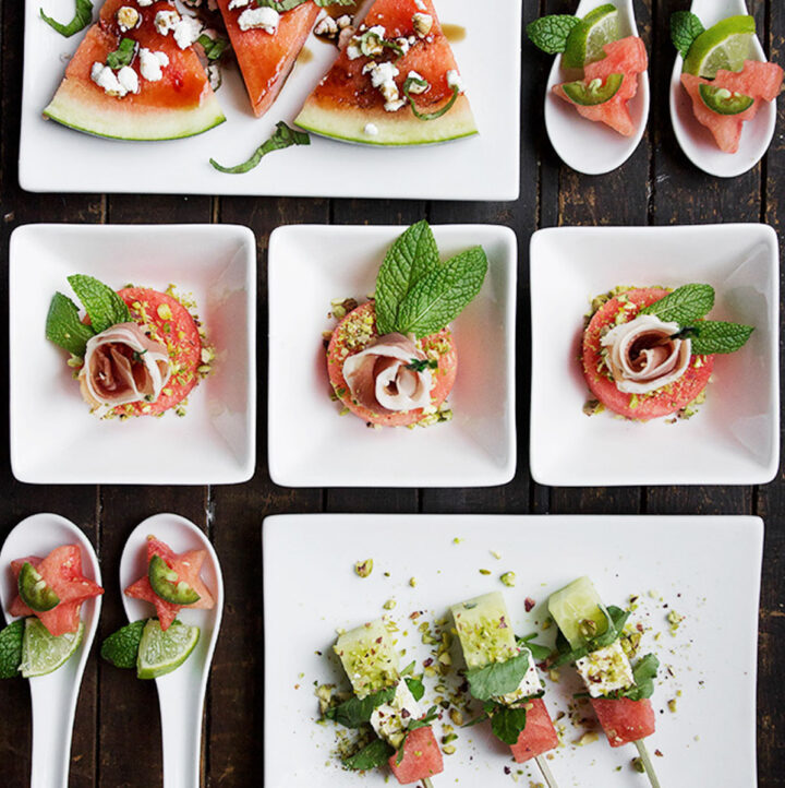 watermelon hors d'oeuvres on wooden board