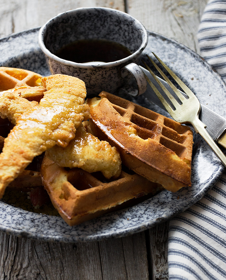 Bacon Cheddar Waffles and Chicken