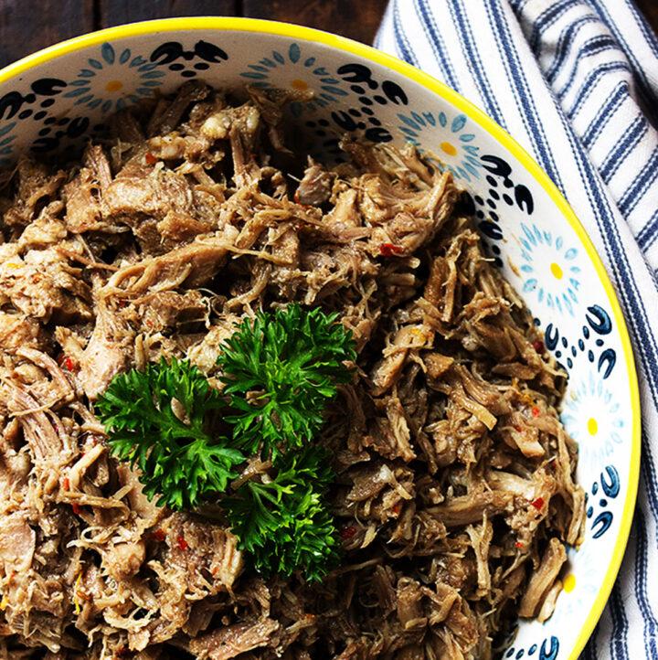 pork carnitas in bowl