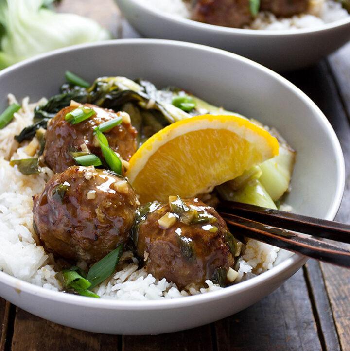 pork meatballs with hoisin orange sauce and rice