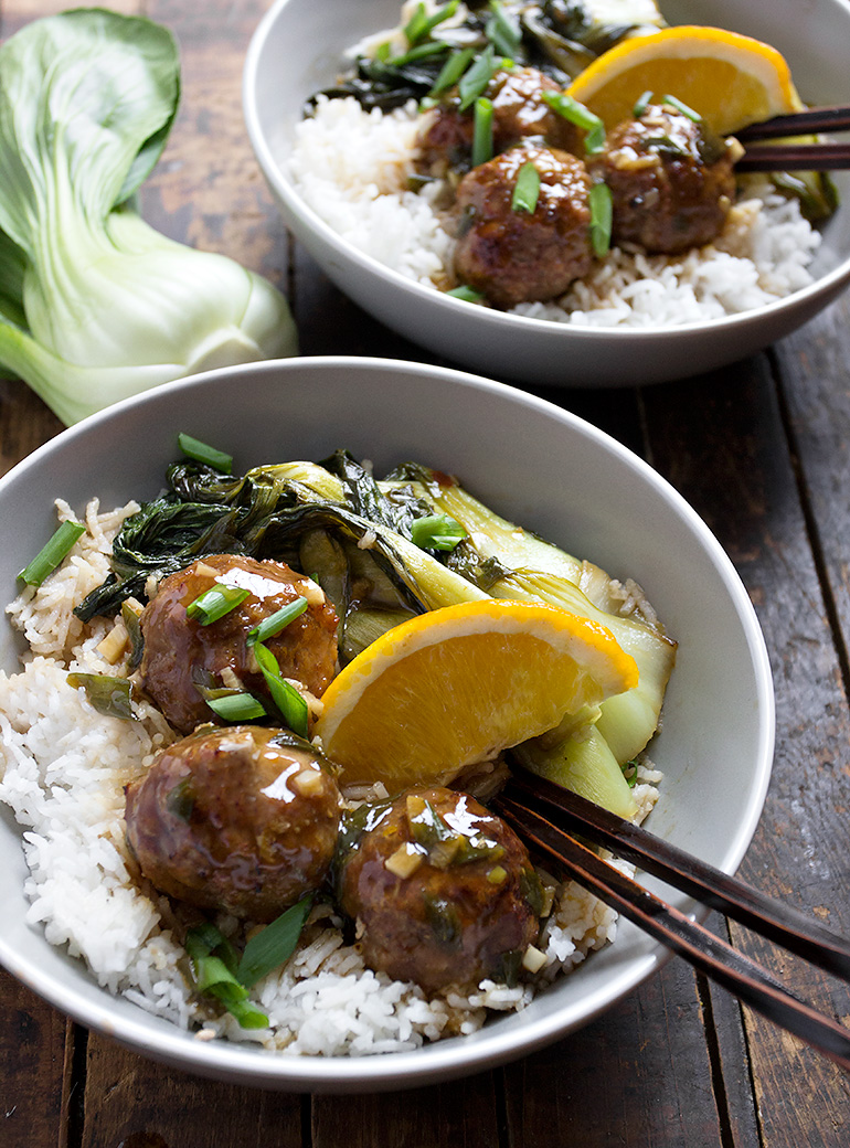 Hoisin Orange Chicken Meatball Bowl