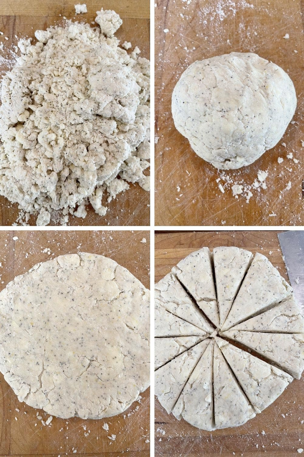 photo collage of steps to make lemon poppy seed scones 2