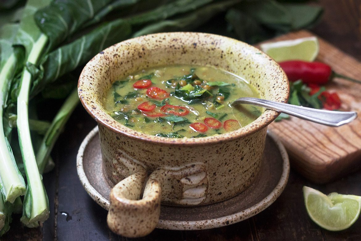 Thai-Inspired Collard and Lentil Soup