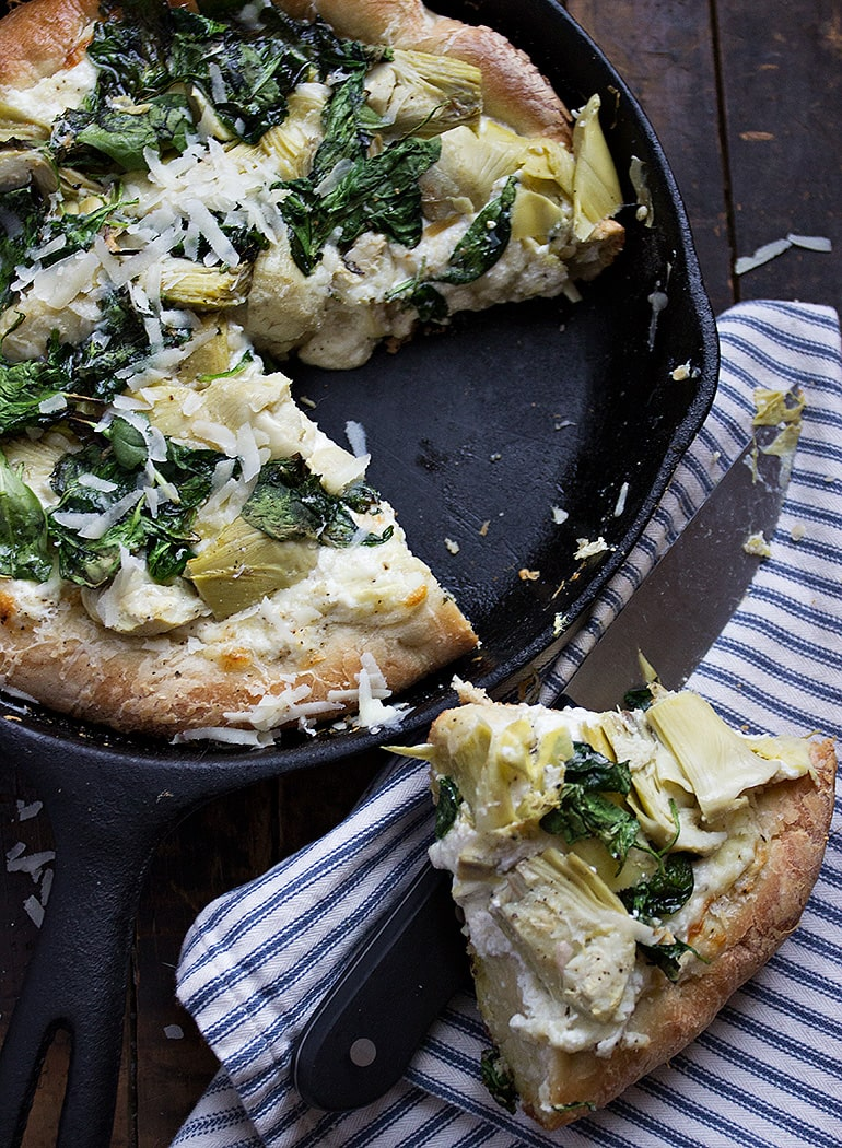 Spinach Artichoke Skillet Pizza
