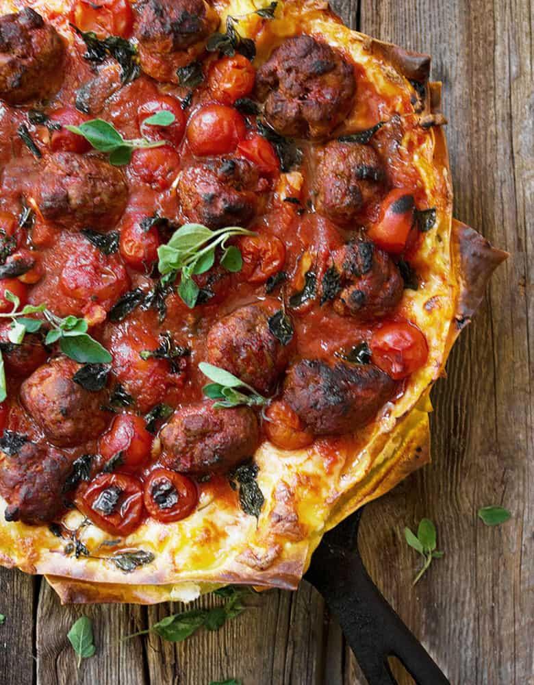 chorizo ricotta lasagna in cast iron skillet