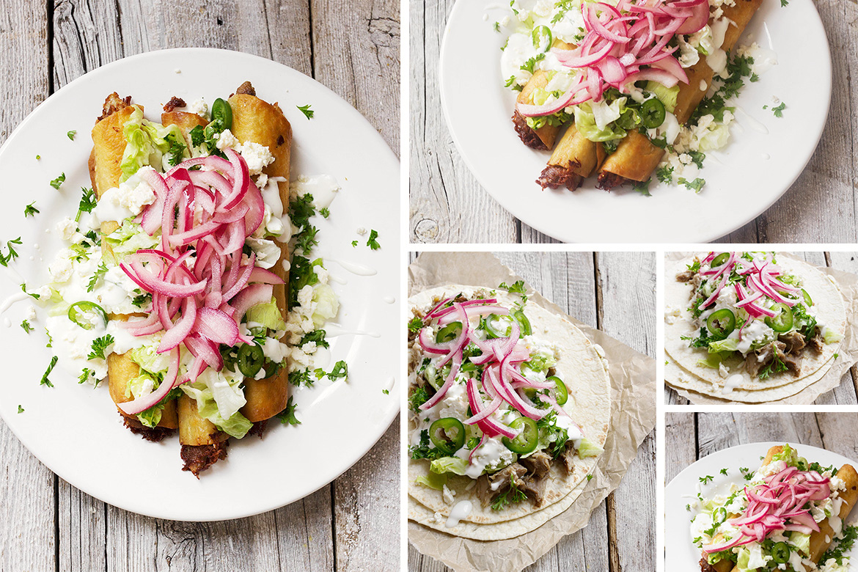 Carnitas Tacos and Carnitas Flautas