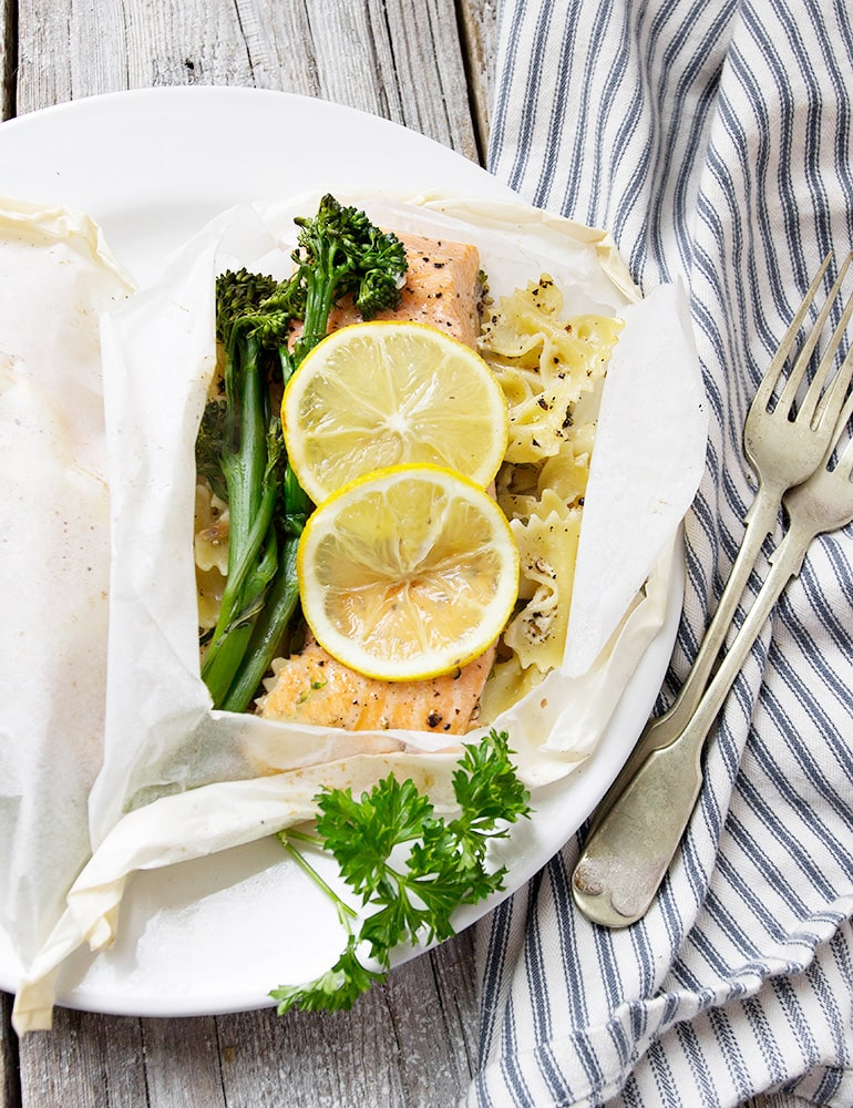 Rainbow Trout and Pasta in Parchment