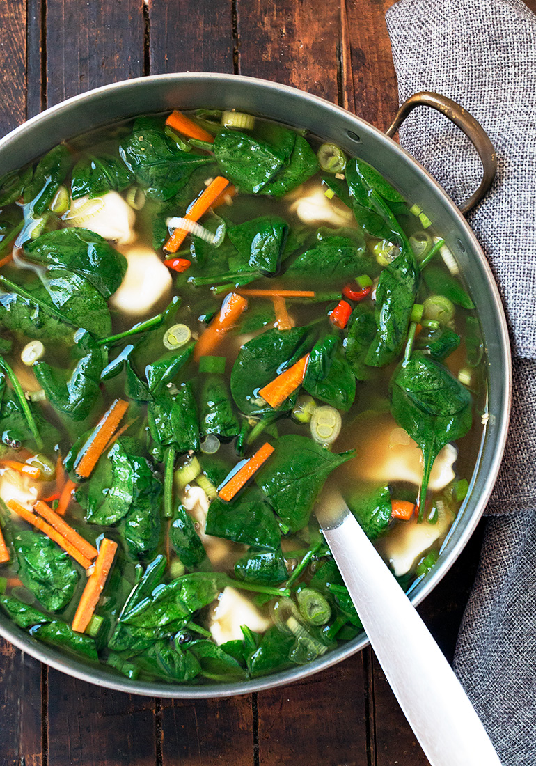 Pork Dumpling and Spinach Soup - quick and easy thanks to frozen, pre-made dumplings!