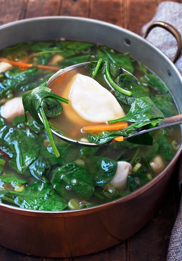 Pork Dumpling and Spinach Soup - quick and easy thanks to frozen, pre ...