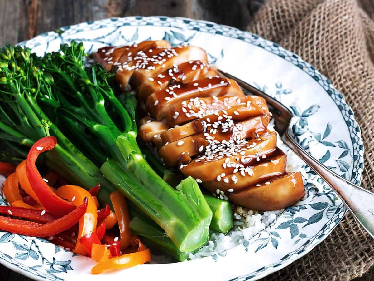 teriyaki chicken breasts on plate with vegetables