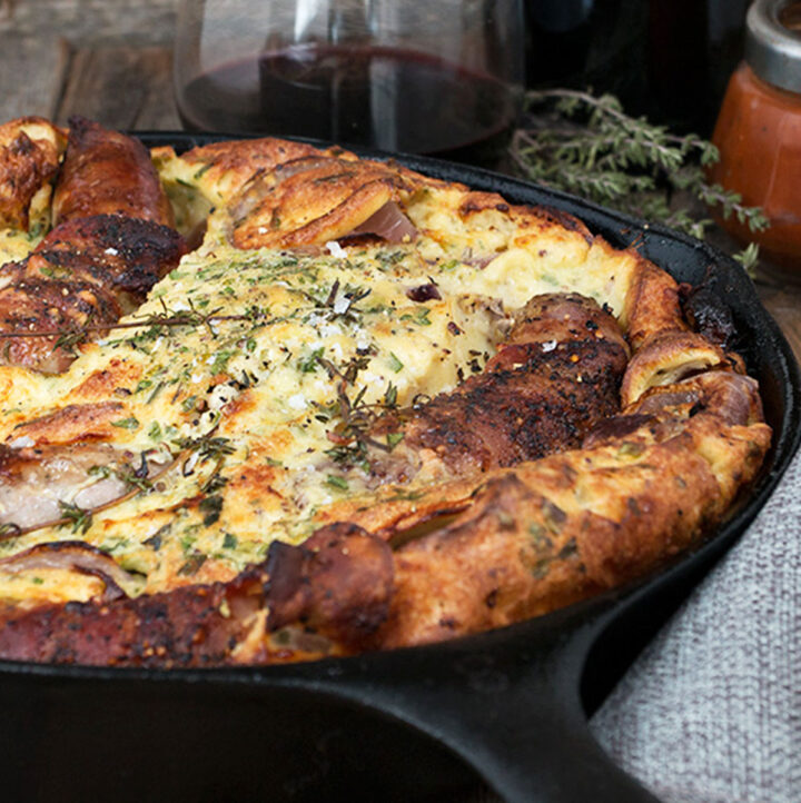 British style toad in the hole in cast iron skillet