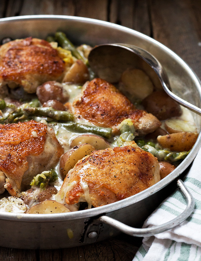 Creamy Asparagus and Mini Potato Chicken Thighs