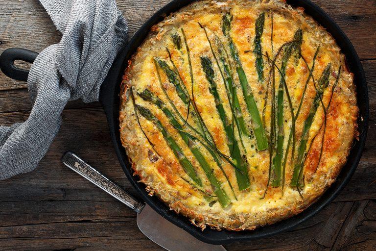 Hashbrown Crust Asparagus Quiche