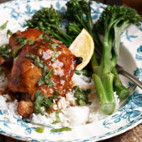 citrus marinated chicken thighs on plate with rice and broccoli