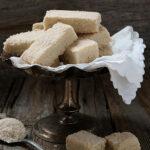 maple sugar shortbread cookies on a silver tray