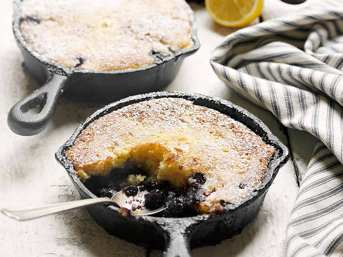 blueberry pudding cakes in mini skillets