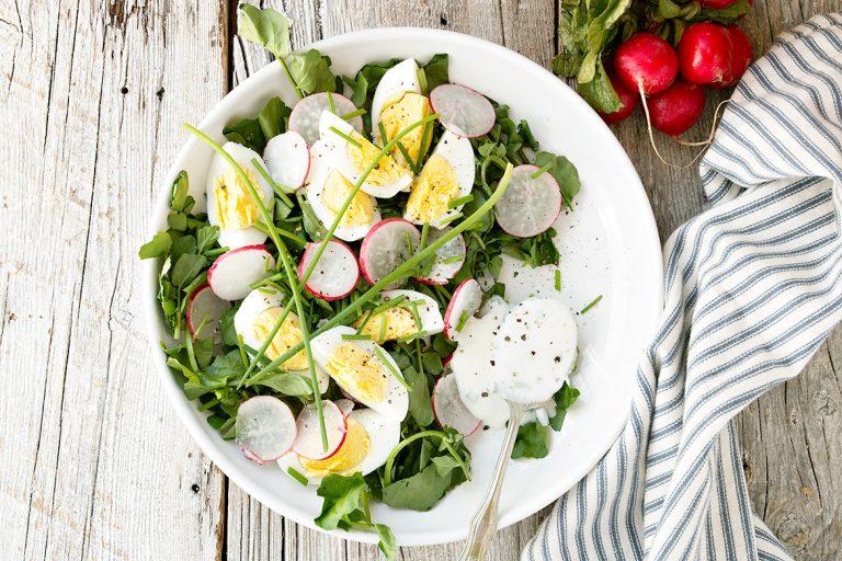Watercress and Egg Salad with Yogurt Dressing
