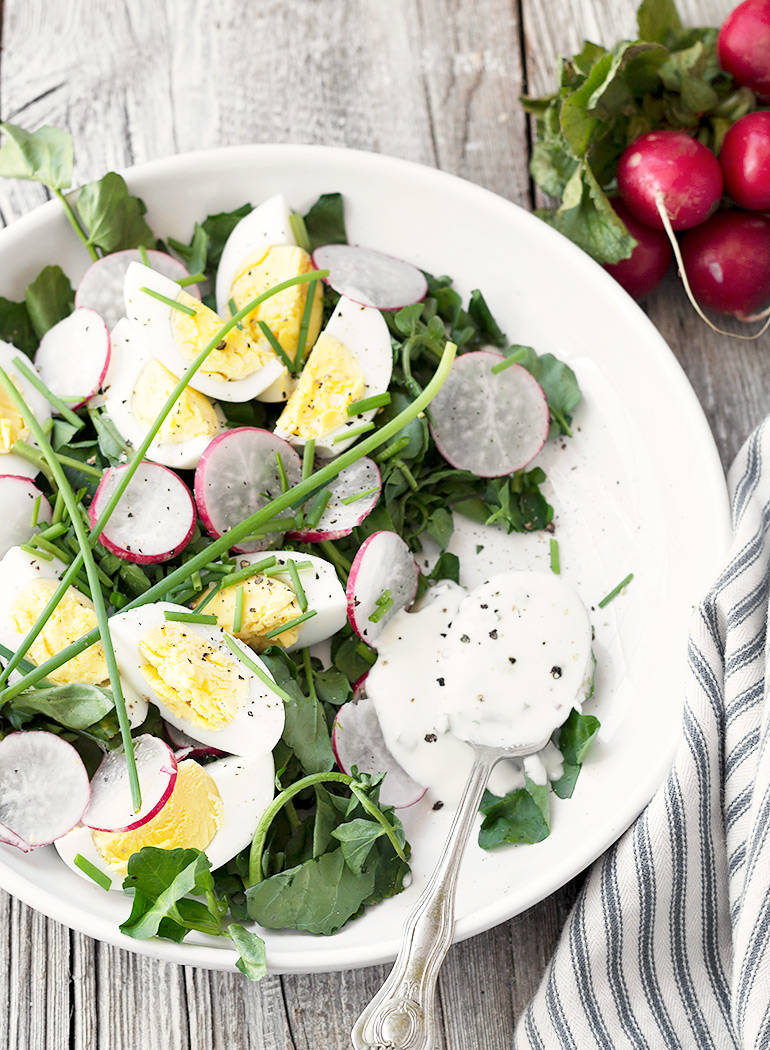 Watercress, Radish and Egg Salad with Yogurt Dressing