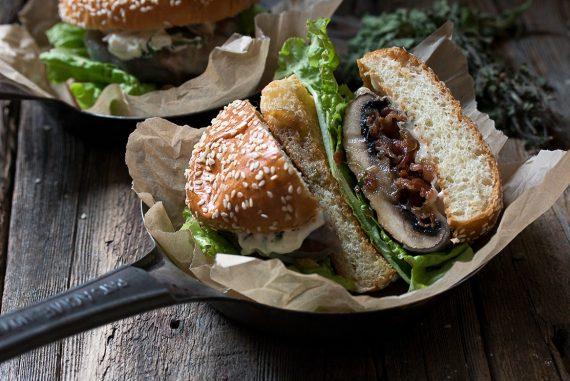 Bacon Jam Filled Portobello Burger