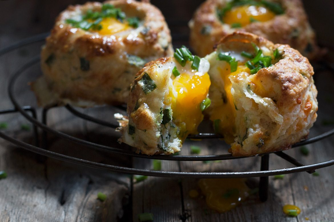 Cheddar Chive and Egg Buttermilk Biscuits