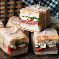 pressed sandwiches cut and wrapped