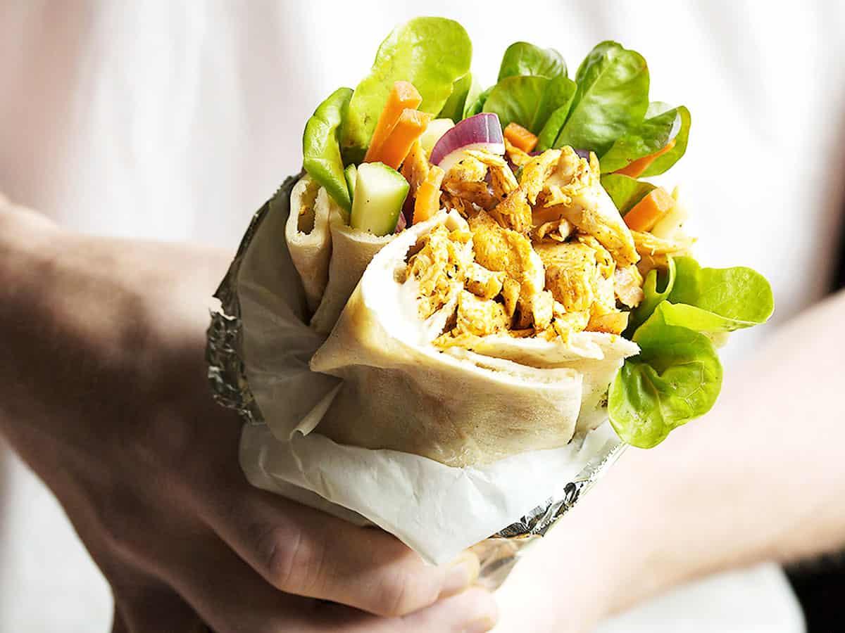 shawarma wrap held in hands