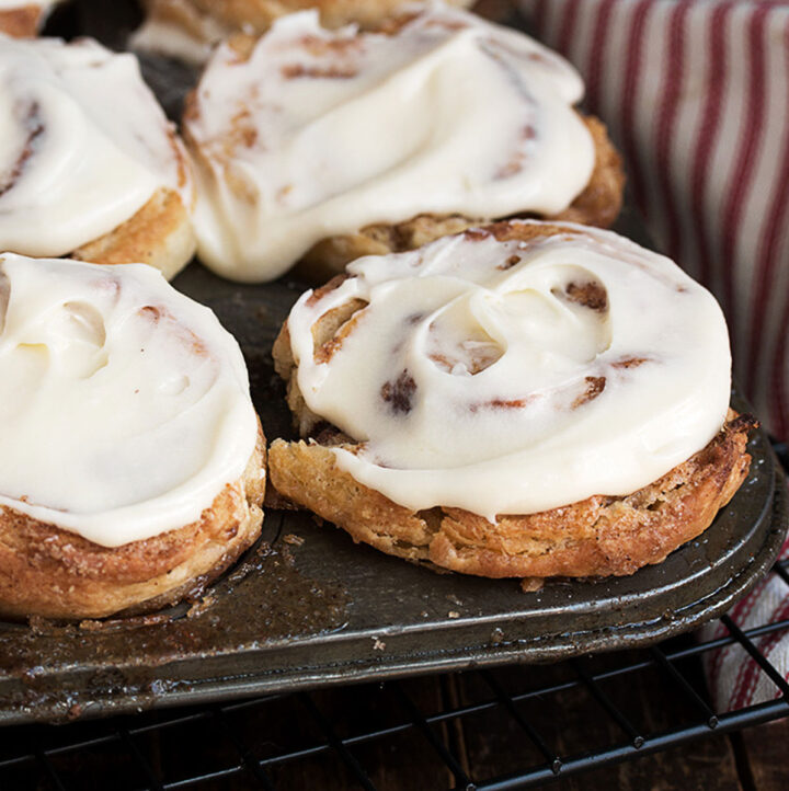 cinnamon roll biscuits with cream cheese frosting