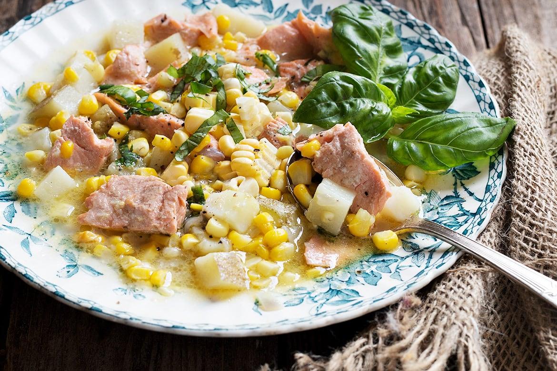 Fresh Summer Corn Chowder with Trout