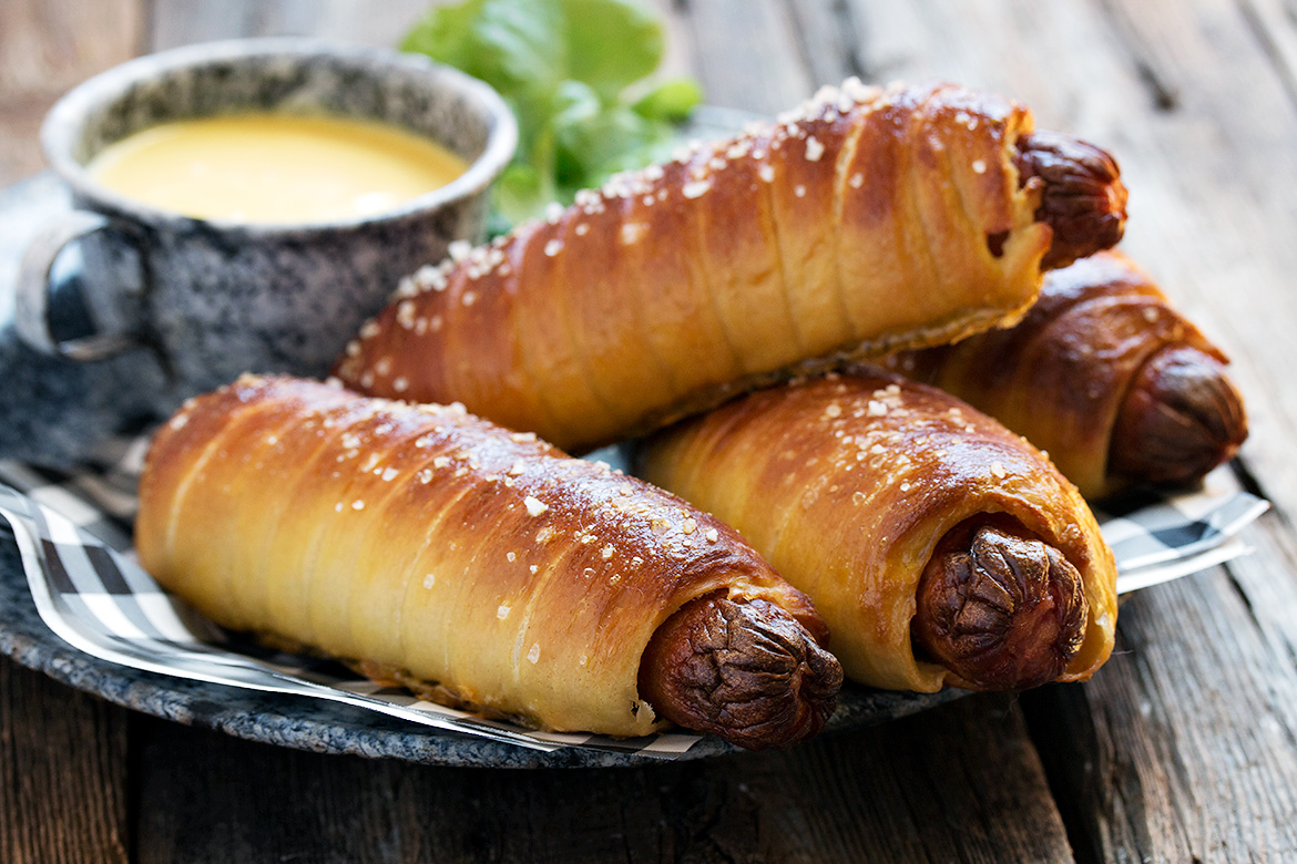 Homemade Pretzel Dogs with Honey Mustard Dipping Sauce