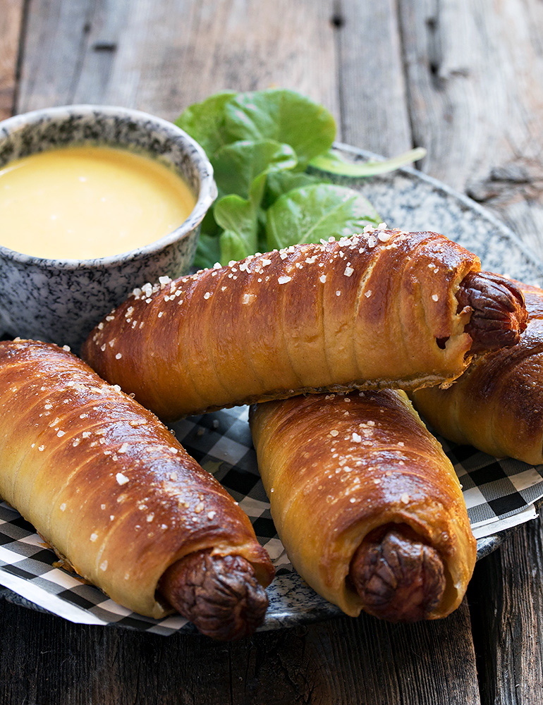 Homemade Pretzel Dogs with Honey Mustard Sauce