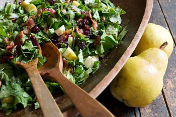 fall pear salad in wooden bowl
