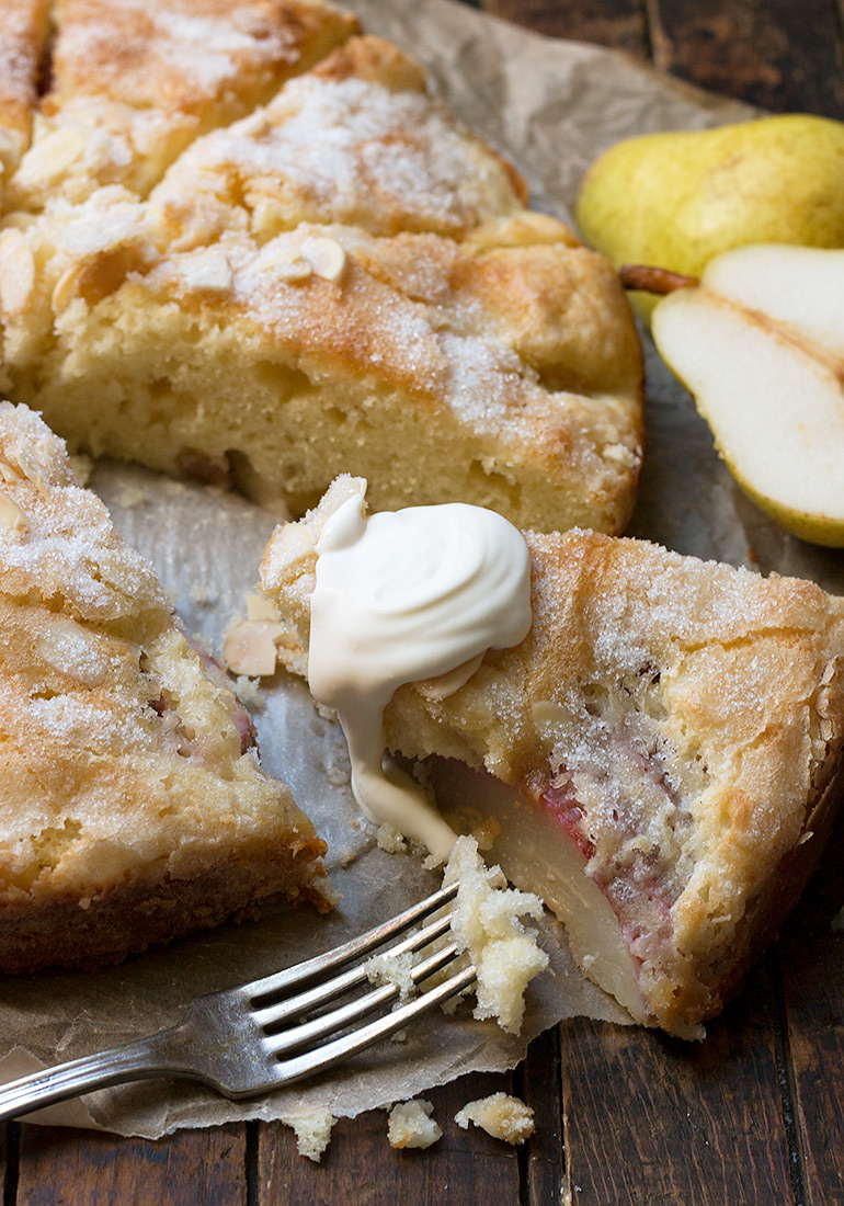 French Pear Cake with Crème Fraîche