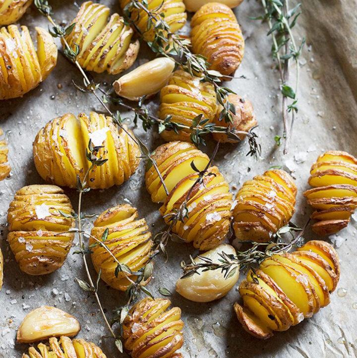 hasselback mini potatoes on parchment