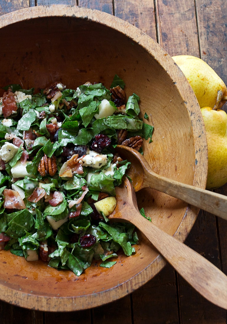 Fall Pear Chopped Salad - with dried cranberries, pecans, goat cheese, bacon and fresh Fall pears, all in a creamy poppy seed dressing