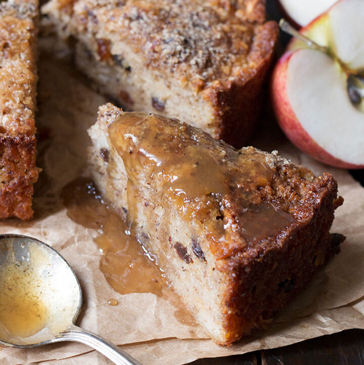 apple hazelnut cake with toffee sauce sliced