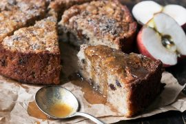Apple Hazelnut Cake with Toffee Sauce