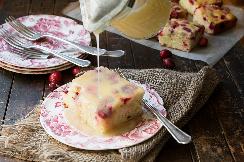 Cranberry Cake with Warm Vanilla Sauce