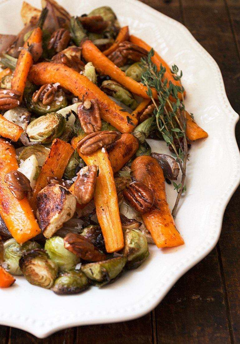 Maple Roasted Vegetables with Candied Maple Pecans