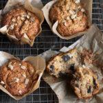 banana chocolate chunk muffins on parchment