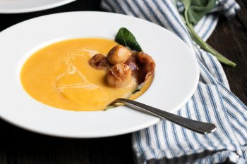 Butternut Squash Soup with Pancetta and Scallops