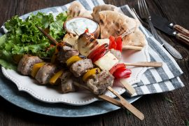Pork Souvlaki with Halloumi Pepper Skewers