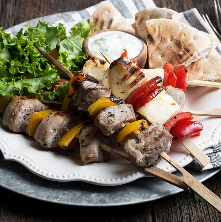 pork souvlaki skewers with halloumi and pepper skewers