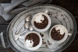 Hot Chocolate Pudding with Candied Pecans