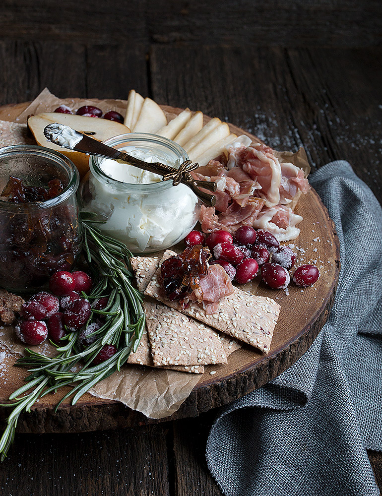 Cranberry-Themed Holiday Platter