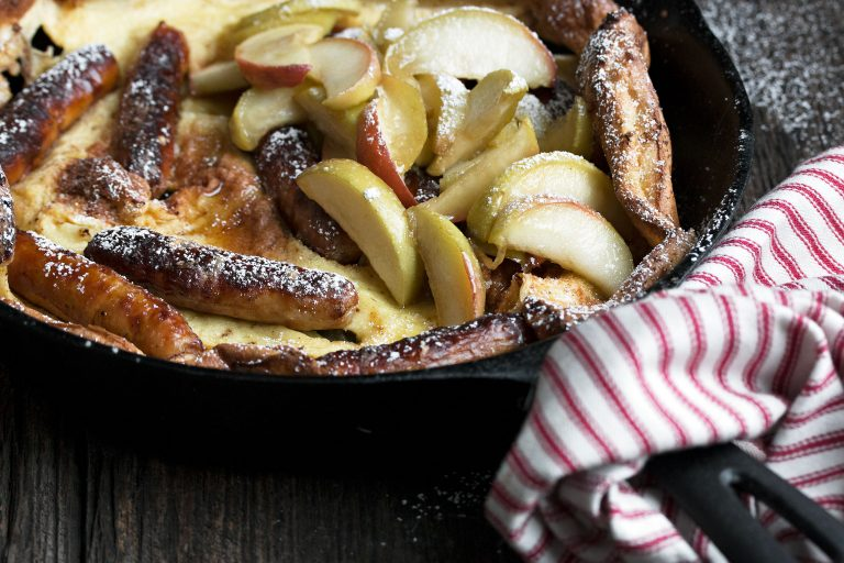 Sausage and Apple Dutch Baby